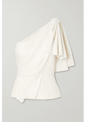 Roland Mouret - Toulon One-shoulder Bow-detailed Gathered Crepe Top - White