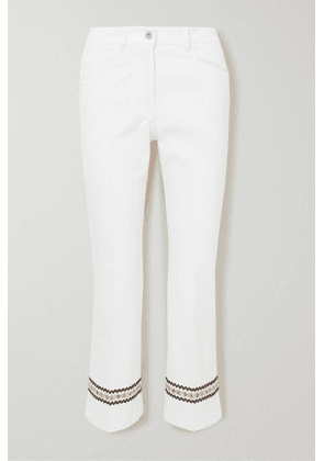 Miu Miu - Cropped Embroidered Stretch-cotton Flared Pants - White