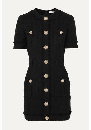 Balmain - Button-embellished Cotton-blend Tweed Mini Dress - Black