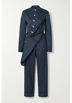 Monse - Draped Cotton-blend Twill Jumpsuit - Midnight blue