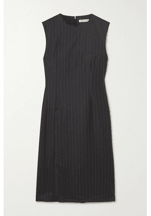 Wright Le Chapelain - Draped Pinstriped Wool Dress - Charcoal