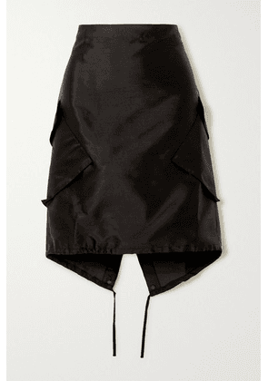 Ioannes - Combat Silk And Cotton-blend Dupioni Skirt - Black