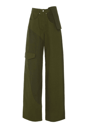 Jacquemus Le Jean De Nimes Two-Tone Cotton-Twill Wide-Leg Pants Size: