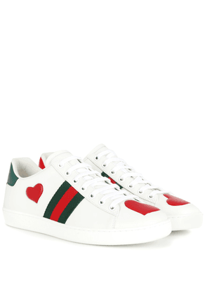 Ace snakeskin-trimmed leather sneakers