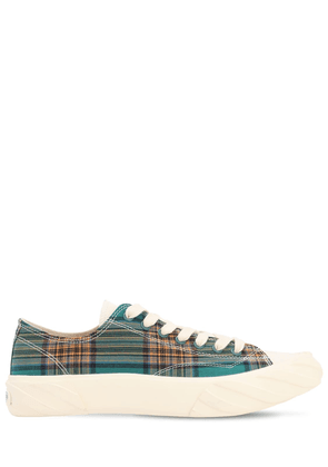Age Cut Checked Cotton Sneakers
