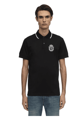 Crest Embroidered Cotton Jersey Polo