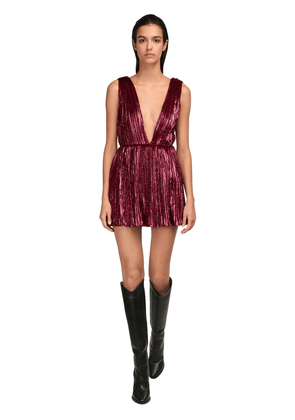 Pleated Velour Mini Dress