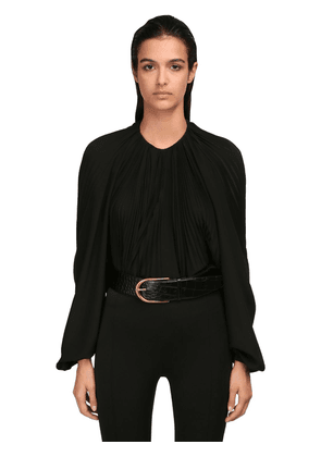 Pleated Silk Crepe De Chine Shirt