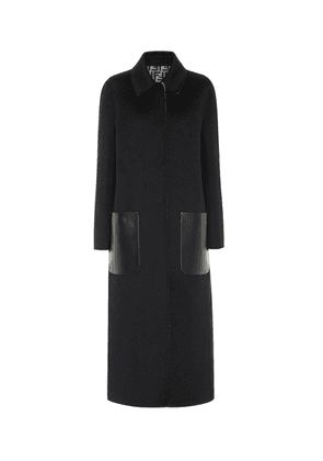 Reversible leather-trimmed wool coat