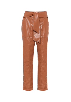 High-rise faux-leather pants