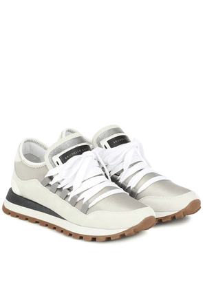 Suede-trimmed sneakers