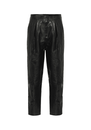 High-rise pleated leather pants