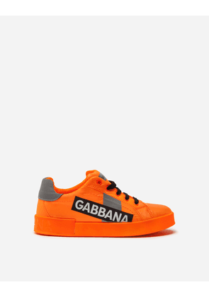 Dolce & Gabbana Shoes - PORTOFINO CUSTOM SNEAKERS IN NYLON WITH LOGO TAPE ORANGE/SILVER