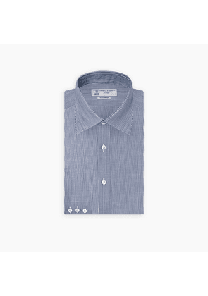 Navy and White Stripe Chambray Shirt with Bury Collar and 3-Button.