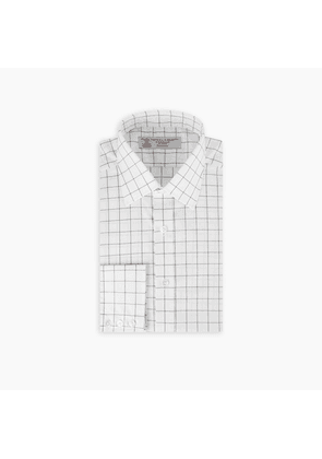 White and Black Wide Check Cotton Shirt with T & A Collar and.