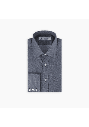 Navy and White Abstract Check Print Shirt with T & A Collar and.
