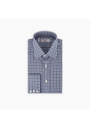 Navy and Blue Solid Check Cotton Shirt with T & A Collar and.