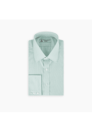 Sea Green Highlight Check Shirt with T & A Collar and 3-Button Cuffs