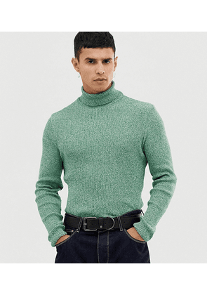 COLLUSION skinny fit ribbed roll neck in green twist