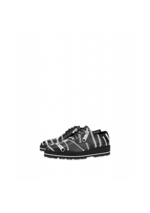 Lace-up Shoes With Zip Print