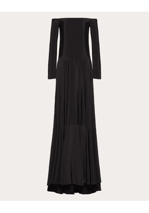 Valentino Cady Couture Evening Dress Women Black Silk 100% 36
