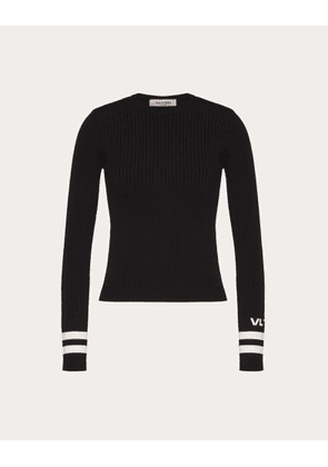 Valentino Vltn Stretch-viscose Jumper Women Black/ivory Viscose 83%, Polyester 17% XS