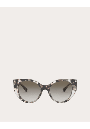 Valentino Occhiali Cat-eye Acetate Frame With Studs Women Brown Acetate 100% OneSize