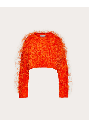Valentino Feather Embroidery Cashmere And Wool Jumper Women Orange Virgin Wool 70%, Cashmere 30% L