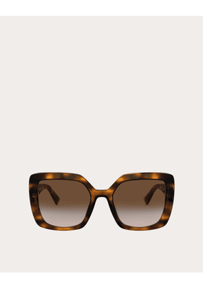 Valentino Occhiali Squared Acetate Frame With Vlogo Women Brown Acetate 100% OneSize