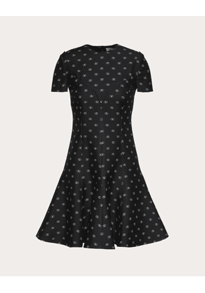 Valentino Mini Vlogo Crepe Couture Dress Women Black  40