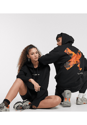 COLLUSION Unisex hoodie with flame logo print-Black