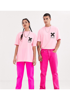COLLUSION Unisex t-shirt in washed neon pink