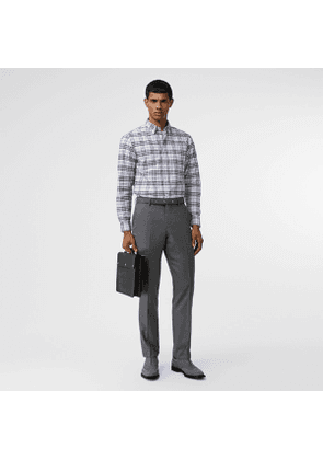 Burberry Check Stretch Cotton Shirt, Blue