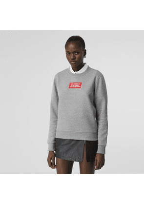 Burberry Quote Print Cotton Sweatshirt, Grey