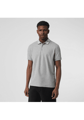 Burberry Logo Intarsia Cotton Piqué Polo Shirt, Grey