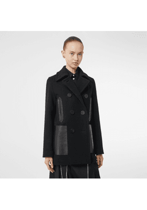 Burberry Lambskin Pocket Wool Blend Pea Coat, Black