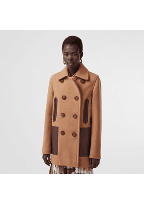 Burberry Lambskin Pocket Wool Blend Pea Coat, Brown