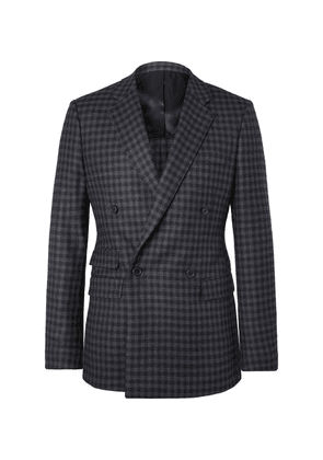 Stella McCartney - Holden Grey Double-breasted Checked Virgin Wool-blend Blazer - Charcoal