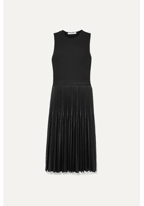 Givenchy - Jersey And Pleated Faux Leather Dress - Black