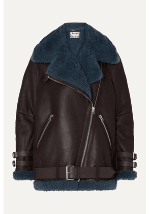 Acne Studios - Velocite Two-tone Shearling-trimmed Leather Biker Jacket - Brown