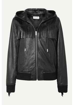 SAINT LAURENT - Hooded Fringed Wool-trimmed Leather Jacket - Black