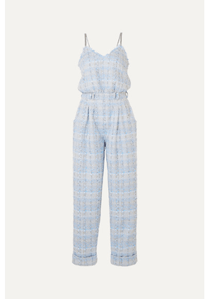 Balmain - Metallic Tweed Jumpsuit - Blue