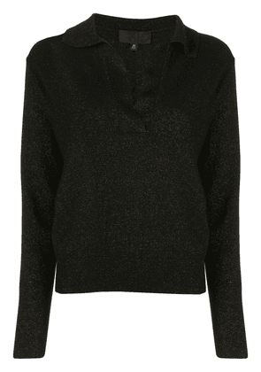 Nili Lotan lurex long-sleeved knitted top - Black