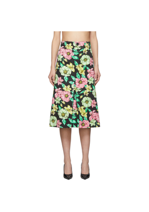 Balenciaga Multicolor Denim Floral Pleat Skirt