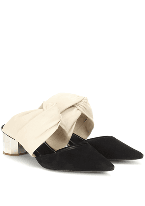 Leather and suede mules