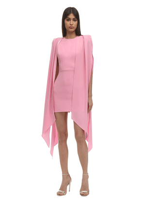 Envers Satin Crepe Mini Dress W/ Cape