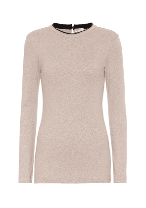 Ribbed-knit stretch-cotton top