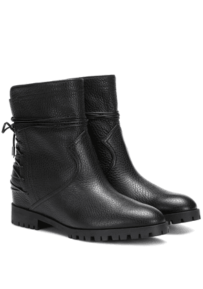Panther leather ankle boots
