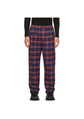 Balenciaga Blue and Red Check Flannel Pyjama Trousers