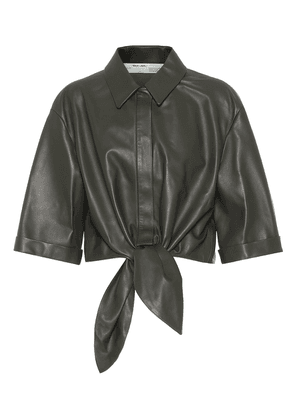 Cropped leather shirt